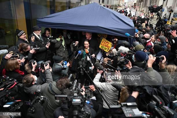 Stella Moris speaks to the media outside the Old Bailey after the extradition of her partner Julian Assange was denied on January 4, 2021 in London,...