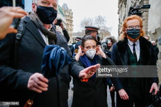 Stella Morris, partner of Julian Assange, founder of Wikileaks, center, arrives at the Old Bailey court in London, U.K., on Monday, Jan. 4, 2021. A...