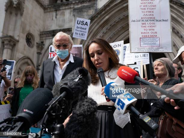 Stella Morris speaks to supporters and members of the media outside the High Court, following a US appeal in the extradition of WikiLeaks founder...