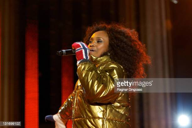 Stella Mwangi ,the Norwegian artist for the Eurovision Song Contest 2011 Final, performs prior to the Mens Cross Country 15km Classic medal ceremony...