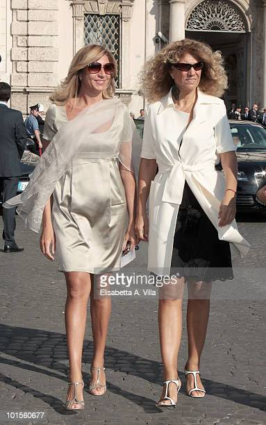 Stella Pende and Myrta Merlino arrive at the Quirinale Palace to attend a Gala Dinner hosted by Italy's President Giorgio Napolitano on June 1 2010...