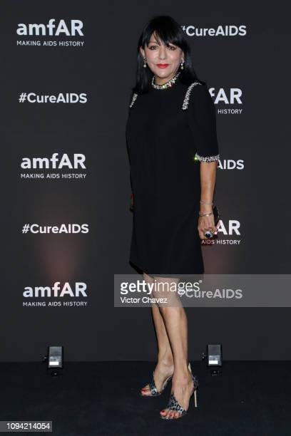 Stella Provas poses during the amfAR gala dinner at the house of collector and museum patron Eugenio López on February 5 2019 in Mexico City Mexico