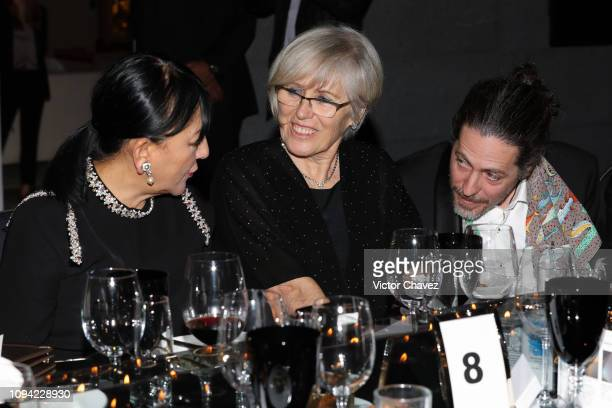 Stella Provas talks to guests during the amfAR gala dinner at the house of collector and museum patron Eugenio López on February 5 2019 in Mexico...