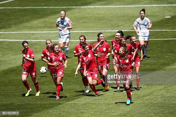 Stella Rigon of Adelaide United celebrates after scoring a goal during the round one WLeague match between Adelaide United and Melbourne Victory at...