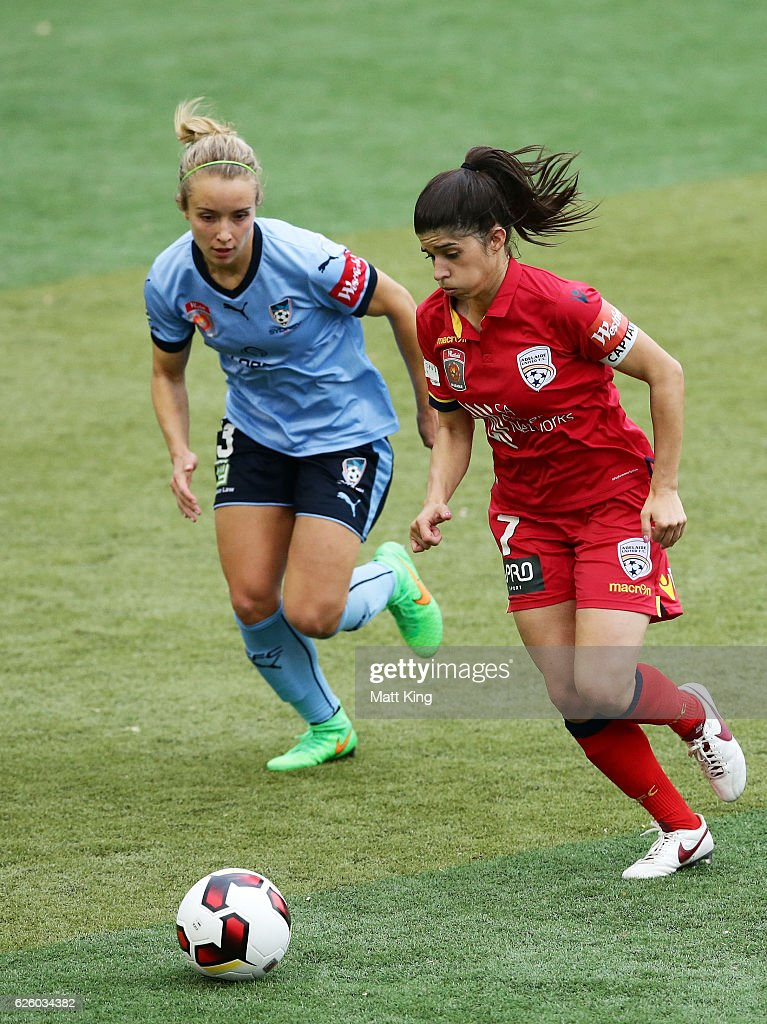 Stella Rigon of United is challenged by Georgia Yeoman-Dale of Sydney FC during the round four W-League match between Sydney FC and Adelaide United at Seymour Shaw on November 27, 2016 in Sydney, Australia.