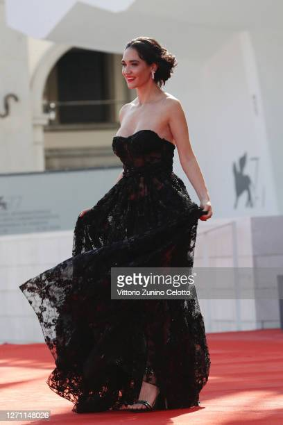 """Stella Sabbadin walks the red carpet ahead of the movie """"Dorogie Tovarischi!"""" at the 77th Venice Film Festival on September 07, 2020 in Venice, Italy."""