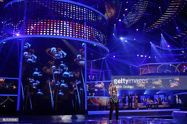 Stella Salato performs during the singer qualifying contest DSDS Deutschland sucht den Superstar mottoshow on April 5 2008 at the Coloneum in Cologne...
