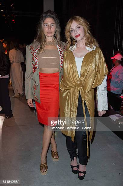 Stella Schnabel and Christina Hendricks attend the Vivienne Westwood show as part of the Paris Fashion Week Womenswear Spring/Summer 2017 on October...