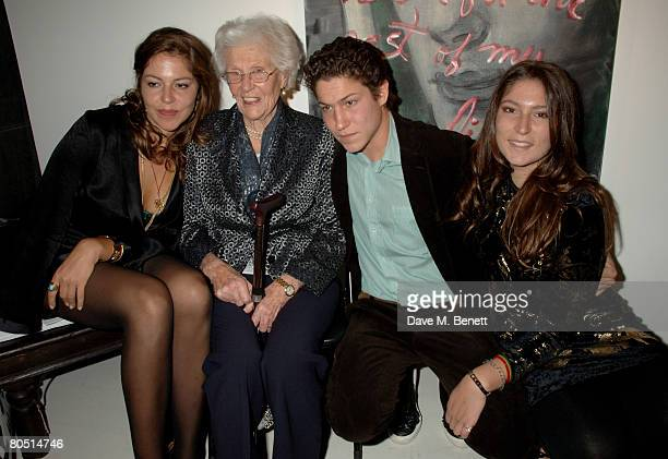 Stella Schnabel Vito Schnabel and Lola Schnabel with their grandmother attend the private view of Rene Ricard's latest exhibition 'What Every Young...