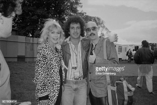 Stella Stevens Corky Laing and Bob Kulick backstage at Knebworth Park Hertfordshire United Kingdom 1985