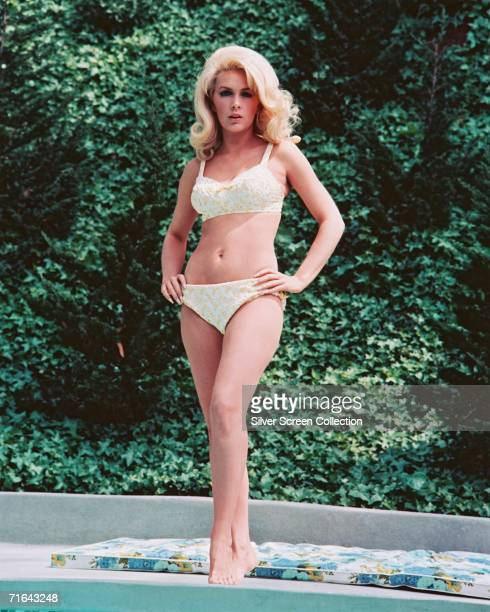 Stella Stevens wearing a bikini in a publicity shot for the film 'Rage' 1966