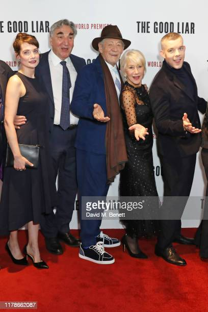 Stella Stocker Jim Carter Sir Ian McKellen Dame Helen Mirren and Russell Tovey attend the World Premiere of The Good Liar at the BFI Southbank on...
