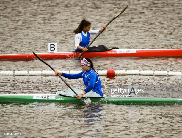 Stella Sukhanova of Kazakhstan competes in the Women - Kayak Head to Head Sprint during day 6 of Buenos Aires Youth Olympic Games 2018 at Urban Park...