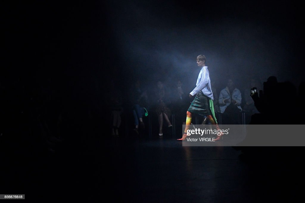 Stella Tenant walks the runway during the Balenciaga Ready to Wear Spring/Summer 2018 fashion show as part of the Paris Fashion Week Womenswear Spring/Summer 2018 on October 1, 2017 in Paris, France.