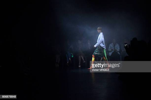 Stella Tenant walks the runway during the Balenciaga Ready to Wear Spring/Summer 2018 fashion show as part of the Paris Fashion Week Womenswear...