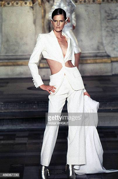 Stella Tenant walks the runway during the Givenchy Couture by Alexander Mc Queen 1997 in Paris France