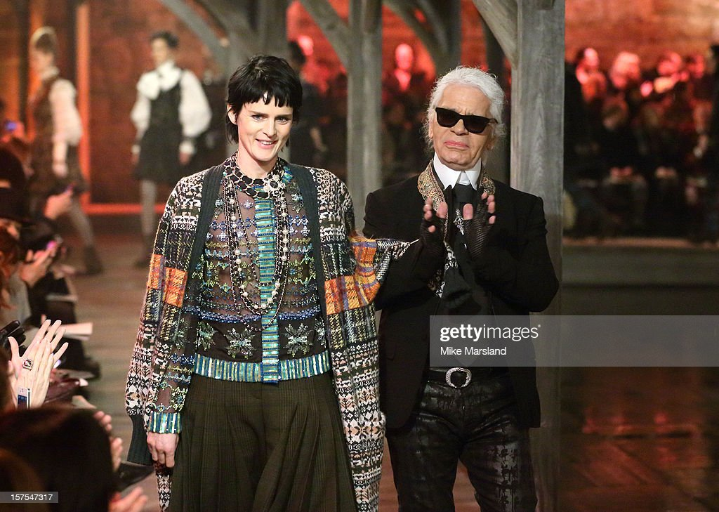 Stella Tennant and Karl Lagerfeld walk the runway at the