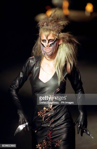 Stella Tennant takes to the catwalk in slashed leather and chains, from designer Alexander McQueen, on the fifth day of London Fashion Week.