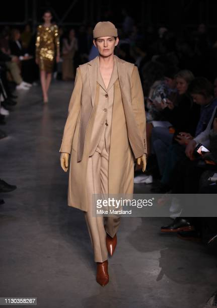Stella Tennant walks the runway at the Burberry show during London Fashion Week February 2019 on February 17 2019 in London England