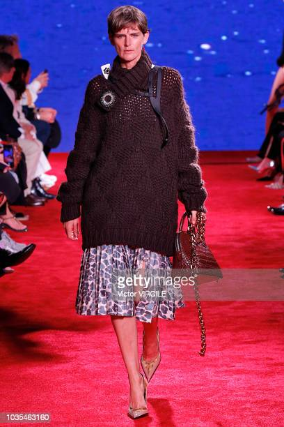 Stella Tennant walks the runway at the Calvin Klein Collection Ready to Wear Spring/Summer 2019 fashion show during New York Fashion Week on...