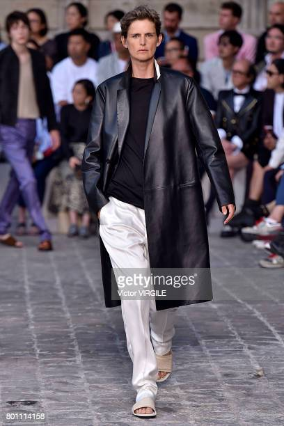 Stella Tennant walks the runway during the Berluti Menswear Spring/Summer 2018 show as part of Paris Fashion Week on June 23 2017 in Paris France