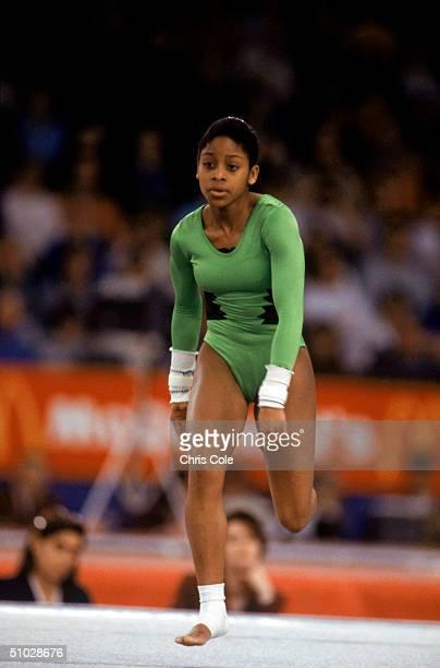 Stella Umeh of Canada prepares to preform her routine during the World Gymnastics Championships in Birmingham Alabama