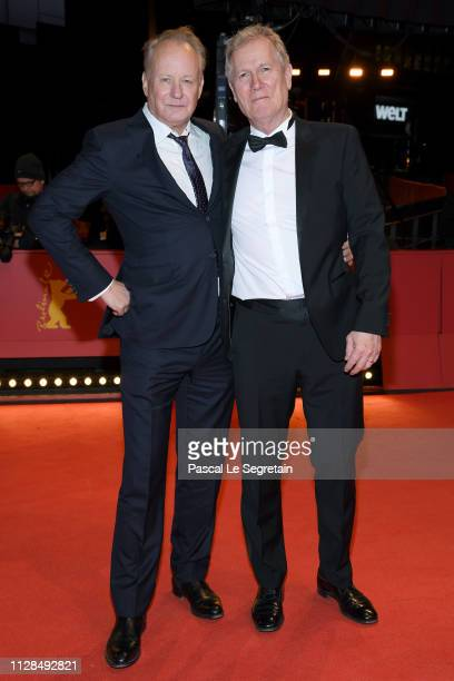 Stellan Skarsgard and Director Hans Petter Moland attend the Out Stealing Horses premiere during the 69th Berlinale International Film Festival...