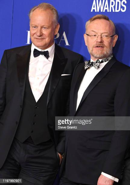 Stellan Skarsgard and Jared Harris poses in the press room at the 77th Annual Golden Globe Awards at The Beverly Hilton Hotel on January 05 2020 in...