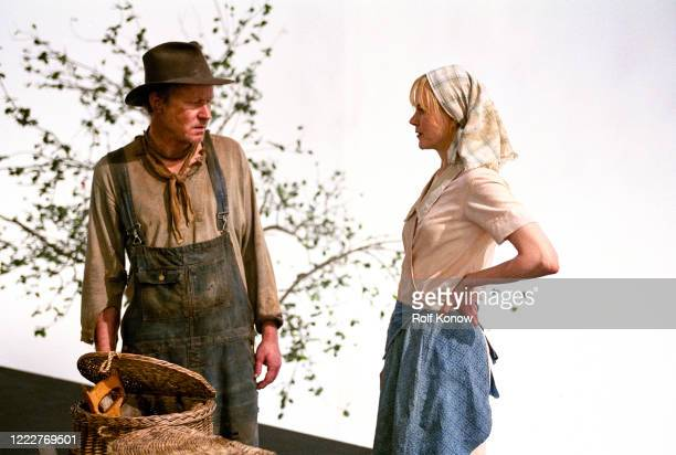 Stellan Skarsgard and Nicole Kidman on the set of DogvilleDirected by Lars von Trier Sweden 2002