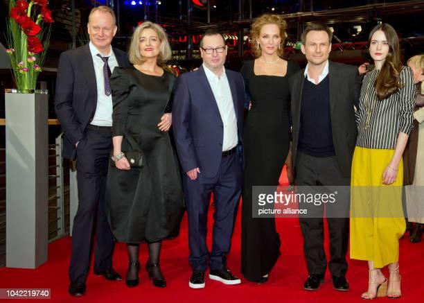 Stellan Skarsgard Bente Froge director Lars von Trier Uma Thurman Christian Slater and Stacy Martin arrive for the screening of 'Nymphomaniac Volume...