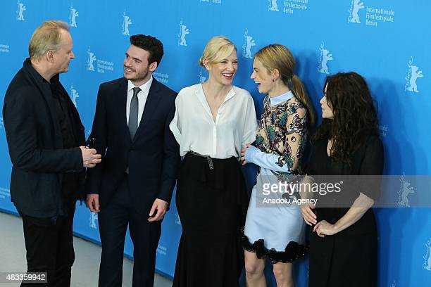 Stellan Skarsgard Richard Madden Cate Blanchett Lily James and Helena Bonham Carter pose during a photocall of 'Cinderalla' at the 65th Berlinale...