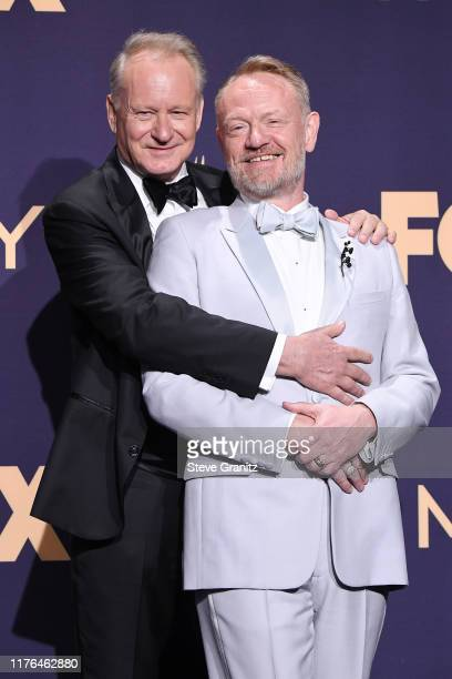 Stellan Skarsgård and Jared Harris pose in the press room during the 71st Emmy Awards at Microsoft Theater on September 22 2019 in Los Angeles...