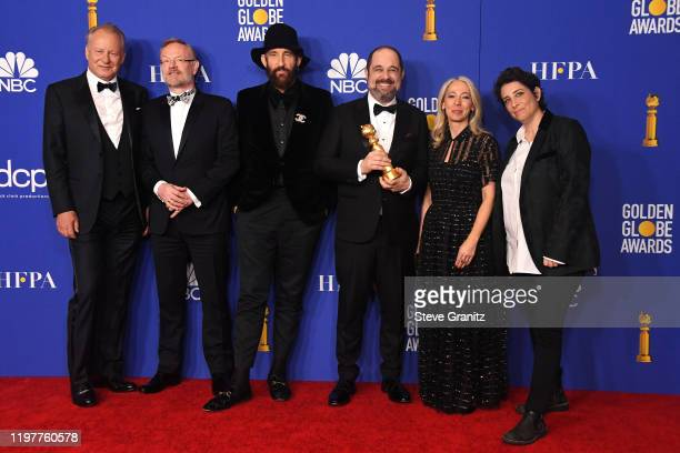 Stellan Skarsgård Jared Harris Johan Renck Craig Mazin Jane Featherstone and Carolyn Strauss pose in the press room during the 77th Annual Golden...