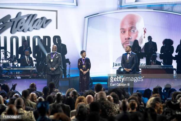 Stellar Award Honorees James Robinson Jr Jackie Patillo and Phil Thornton appear onstage during the 34th annual Stellar Gospel Music Awards at the...