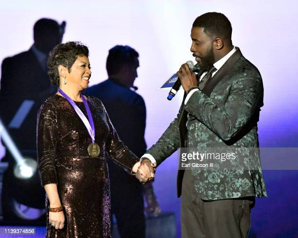 Stellar Honorees Jackie Patillo and Akintunde speak during the 34th annual Stellar Gospel Music Awards at the Orleans Arena on March 29 2019 in Las...