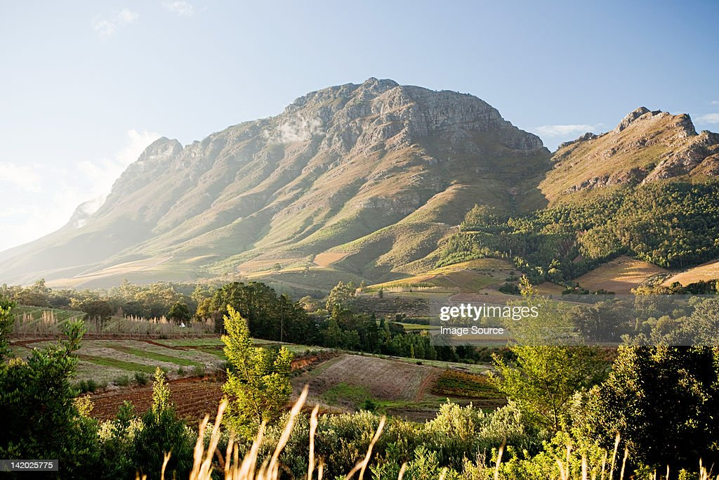 Stellenbosch Mountain, view from Hells Heights Pass, South Africa : Stock Photo