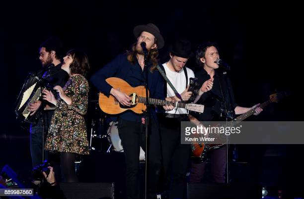 Stelth Ulvang Neyla Pekarek Wesley Schultz Jeremiah Fraites and Byron Isaacs of The Lumineers perform onstage during KROQ Almost Acoustic Christmas...