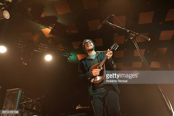 Stelth Ulvang of The Lumineers performs on stage at Barrowlands Ballroom on April 15, 2016 in Glasgow, Scotland.