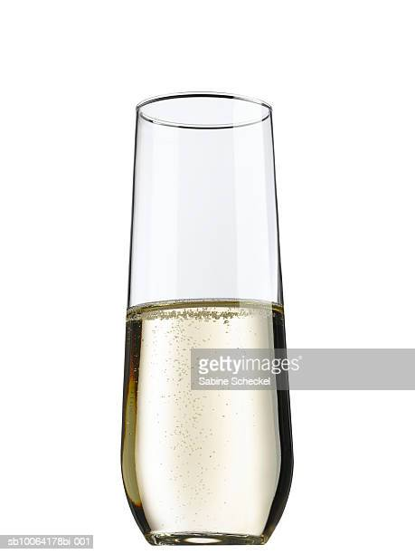 stemless flute with champagne on white background - champagne flute stock pictures, royalty-free photos & images