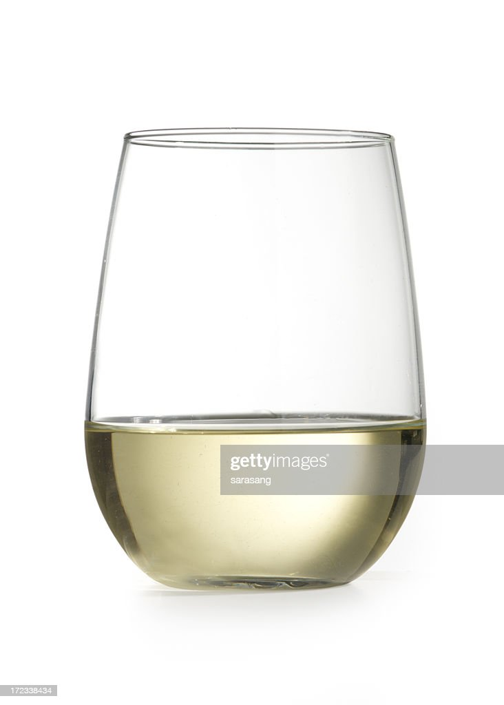stemless wine glass with chardonnay isolated on white : Stock Photo