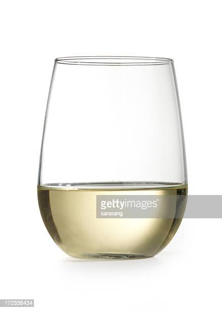 stemless wine glass with chardonnay isolated on white - chardonnay grape stock photos and pictures