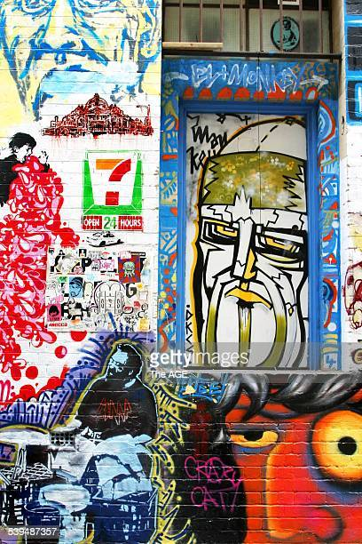 Stencil and street art in Hossier Lane Melbourne Taken 14 November 2004 THE AGE A3 Picture by ESTELLE GRUNBERG