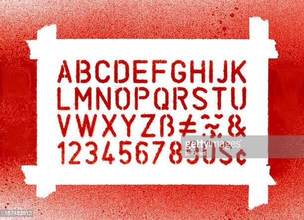 stencil lettering - font stock photos and pictures