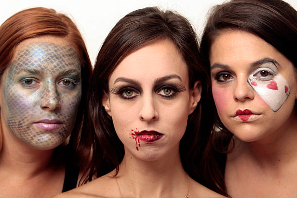 step by step on how to get three different halloween makeup looks looks done by