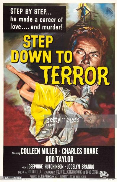 Step Down To Terror, poster, US poster art, Colleen Miller, Charles Drake, 1958.