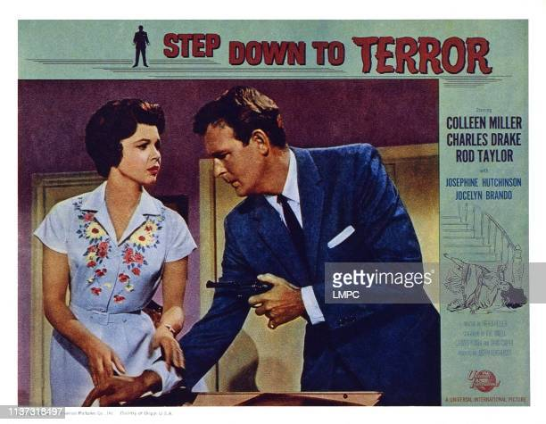 Step Down To Terror US lobbycard from left Colleen Miller Charles Drake 1958