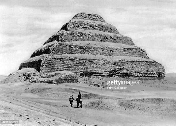 A step pyramid outside Cairo Egypt c1920s Plate taken From In the Land of the Pharaohs published by Lehnert Landrock