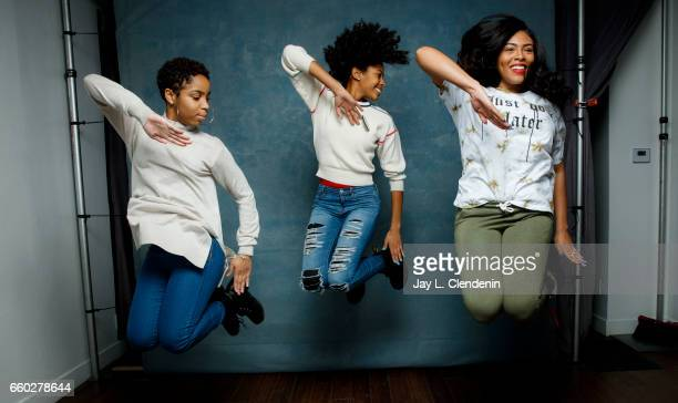 Step team members Tayla Solomon Cori Granger and Blessin Giraldo from the documentary film STEP are photographed at the 2017 Sundance Film Festival...