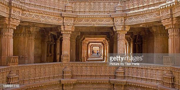 step well of adalaj - step well stock photos and pictures