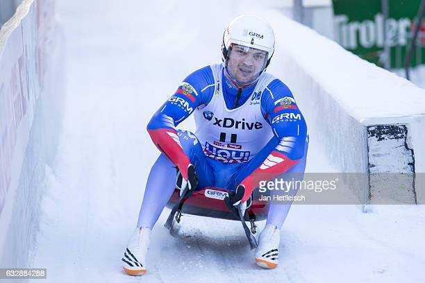 Stepan Fedorov of Russia reacts after his run in the Sprint Men Final of the FIL-Sprint World Championships at Olympiabobbahn Igls on January 27,...